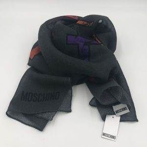 Moschino black with colourful letters scarf